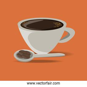 flat cup of coffee drink concept