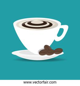 flat cup of cappuccino drink concept