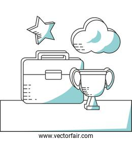 line icon suitcase cloud and trophy