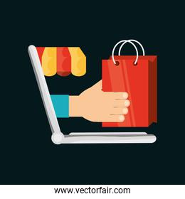 shopping online with technology equipment connect