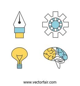 bundle of creative process with innovation ideas