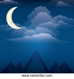 night and mountains design