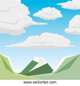 mountains and clouds design