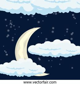 moon and clouds design