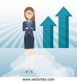 succesful business woman showing business growing chart