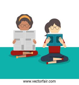 people reading book and newspaper