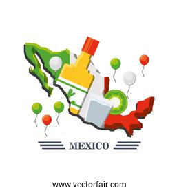 mexico map with mexican elements