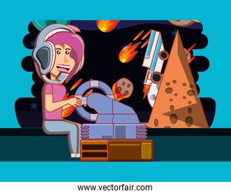 girl playing with video game console