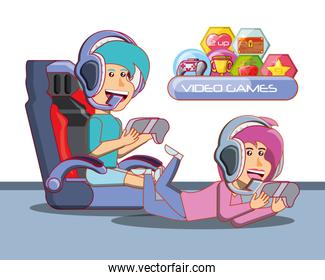 kids playing with video game console