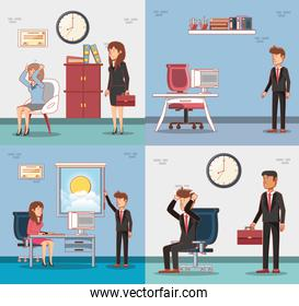 businesspeople avatars with work time elements