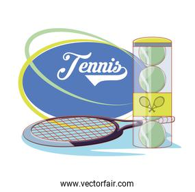 racket and balls to play tennis sport