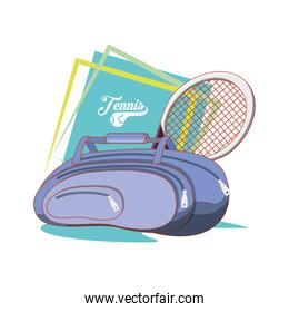 bag and racket to play tennis sport