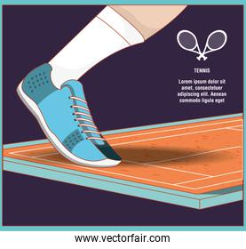 foot with shoe on court of tennis sport