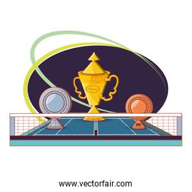 court of tennis sport with trophies