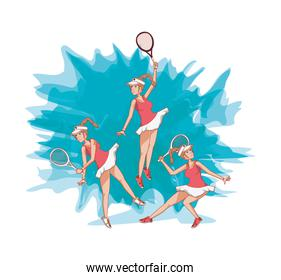group of women players tennis