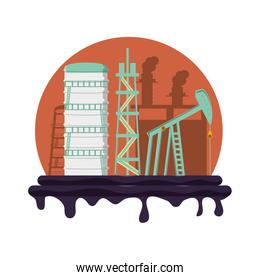 oil industry with refinery plant