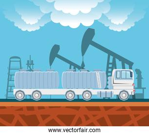 oil industry with transport truck