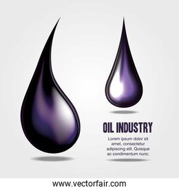 poster of oil industry with drops
