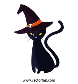 halloween black cat with witch hat