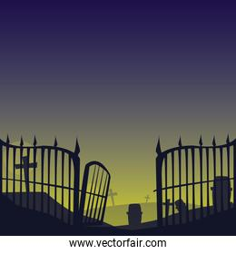 grille cemetery on night scene