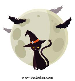 halloween black cat with moon and bats flying