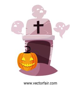 halloween gravestone with ghost and pumpkin
