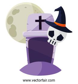 halloween gravestone with skull and moon