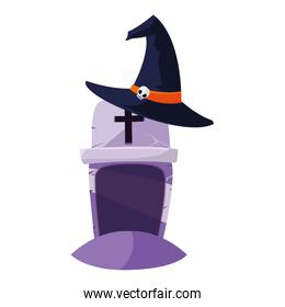 halloween gravestone with witch hat