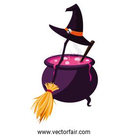 halloween cauldron with witch hat and broom