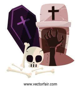 halloween gravestone with skull and coffin