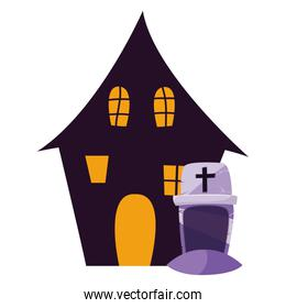 halloween gravestone with enchanted house