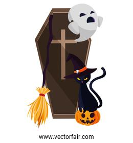 happy halloween ghost with coffin and cat