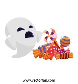 happy halloween ghost with candies character