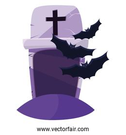 halloween gravestone with bats flying