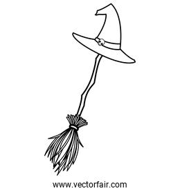 halloween witch broom with hat