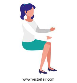 young business woman seated character