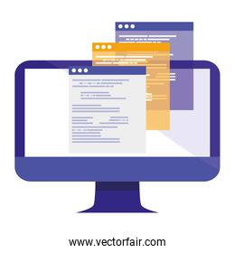 computer screen  with webpages templates