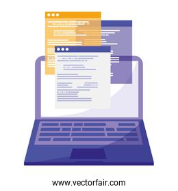 laptop with webpages templates