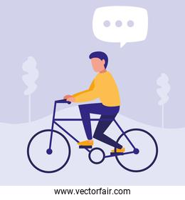 young man in bicycle character