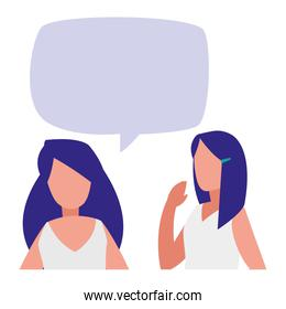 young women couple talking characters