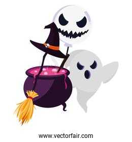 happy halloween ghost with cauldron and broom