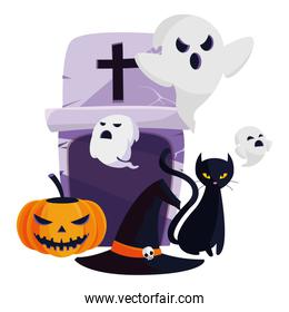 halloween black cat with ghost characters