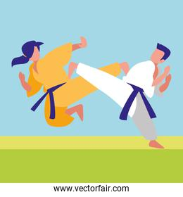 couple fighting martial arts characters