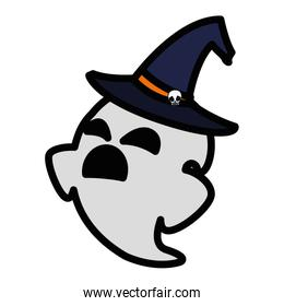 happy halloween ghost with witch hat