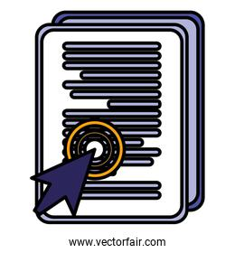 documents paper with cursor arrow