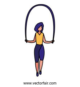 young woman jumping rope