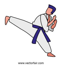 man practicing martial arts character