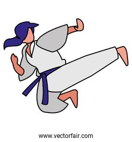woman practicing martial arts character
