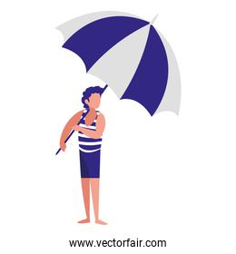 man with beach clothes and umbrella