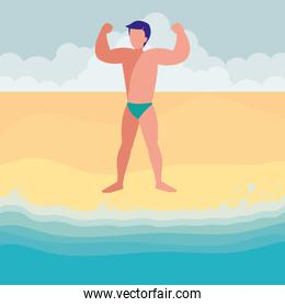 strong man with swimsuit